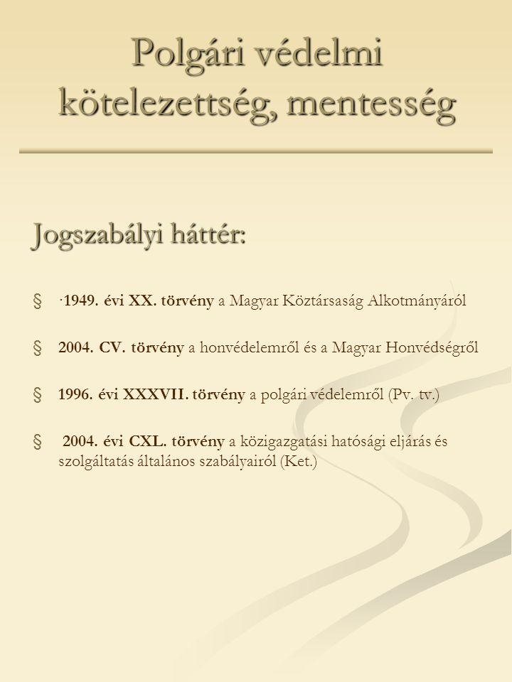 Polgári védelmi kötelezettség, mentesség Jogszabályi háttér: § §·1949. évi XX. törvény a Magyar Köztársaság Alkotmányáról § §2004. CV. törvény a honvé