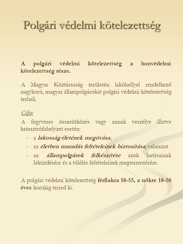 Polgári védelmi kötelezettség A polgári védelmi kötelezettség a honvédelmi kötelezettség része. A Magyar Köztársaság területén lakóhellyel rendelkező