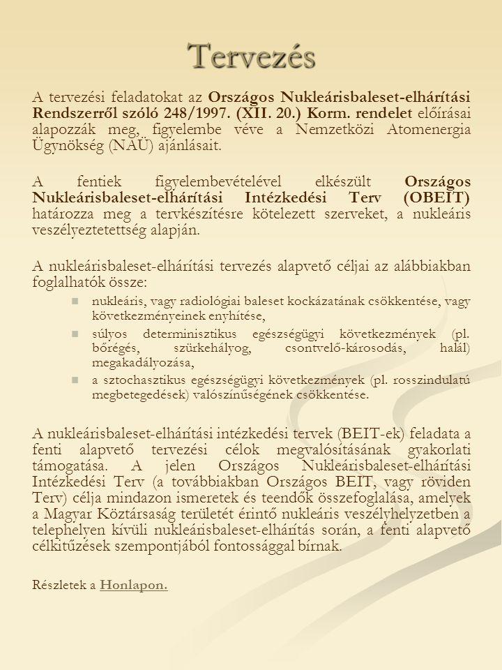 Tervezés A tervezési feladatokat az Országos Nukleárisbaleset-elhárítási Rendszerről szóló 248/1997.