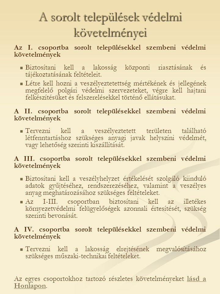 A sorolt települések védelmi követelményei Az I.