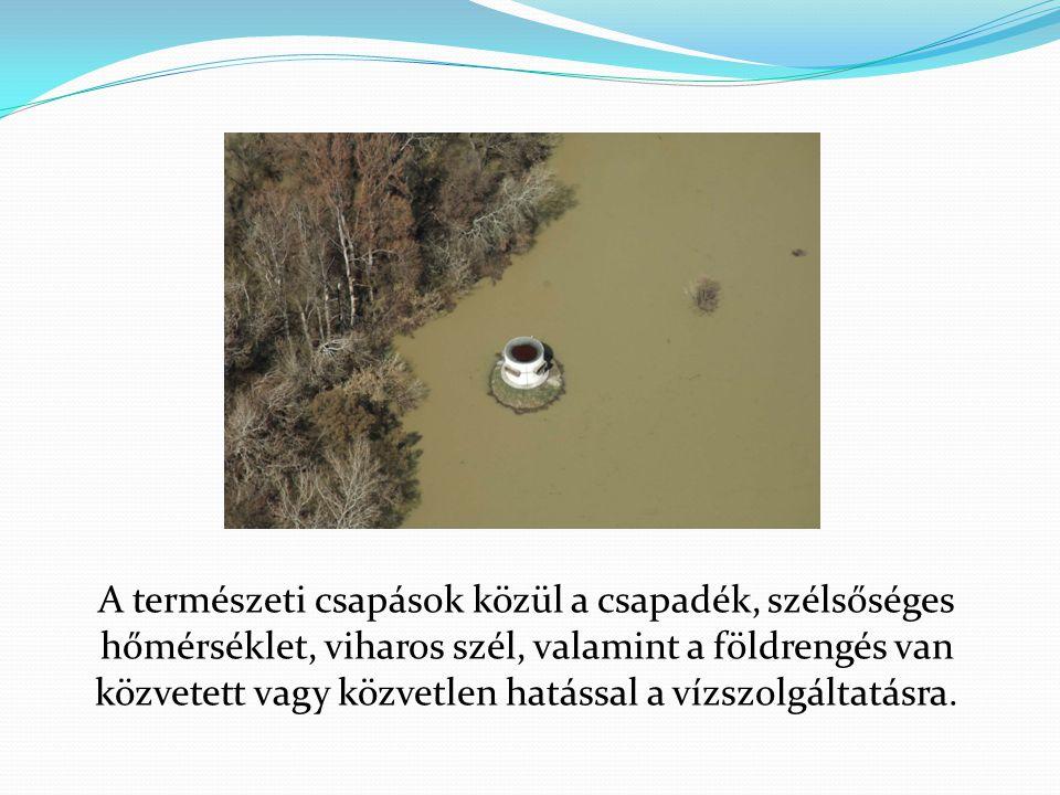 A természeti csapások közül a csapadék, szélsőséges hőmérséklet, viharos szél, valamint a földrengés van közvetett vagy közvetlen hatással a vízszolgáltatásra.