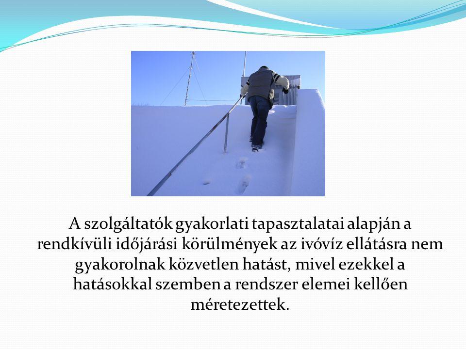 A szolgáltatók gyakorlati tapasztalatai alapján a rendkívüli időjárási körülmények az ivóvíz ellátásra nem gyakorolnak közvetlen hatást, mivel ezekkel a hatásokkal szemben a rendszer elemei kellően méretezettek.