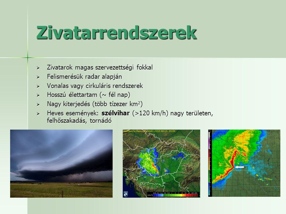 Előrejelzésük NOWCASTING az aktuális állapot minél alaposabb feltérképezése (felszíni mérések, radar, műhold, villám) ultrarövid távú előrejelzés (lineáris humán vagy automatizált extrapoláció vagy numerikus modellezés) Operatív humán gyakorlatban