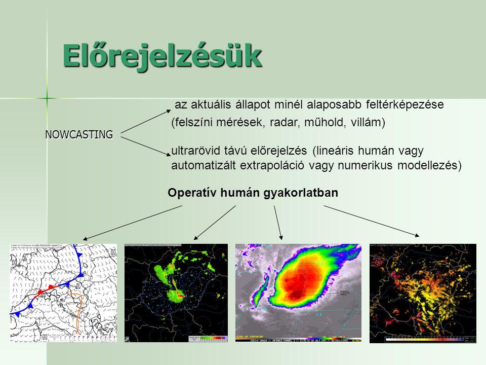 Előrejelzésük NOWCASTING az aktuális állapot minél alaposabb feltérképezése (felszíni mérések, radar, műhold, villám) ultrarövid távú előrejelzés (lin