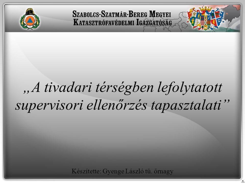 -2- Előzmények: - Papp Károly közfoglalkoztatási helyettes államtitkár által vezetett, a Felső-Tisza árvízvédelmével kapcsolatos megbeszélés; - A FETIVIZIG igazgatója beszámolójában kiemelte, hogy az Ukrajnában végrehajtott gátépítési beruházások, illetve a betervezett, de ezidáig még el nem készült ukrán tározók (42 db) miatt a terület árvízi veszélyeztetettsége megnőtt (növekedő árvízszintek - Tivadarnál 100-120 cm növekedés jelenthet az ukrán fejlesztés, növekedő vízhozamok, különböző töltésmagasságok).
