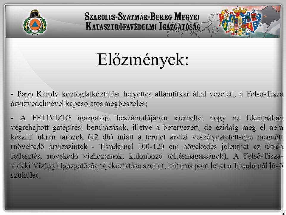 -2- Előzmények: - Papp Károly közfoglalkoztatási helyettes államtitkár által vezetett, a Felső-Tisza árvízvédelmével kapcsolatos megbeszélés; - A FETI