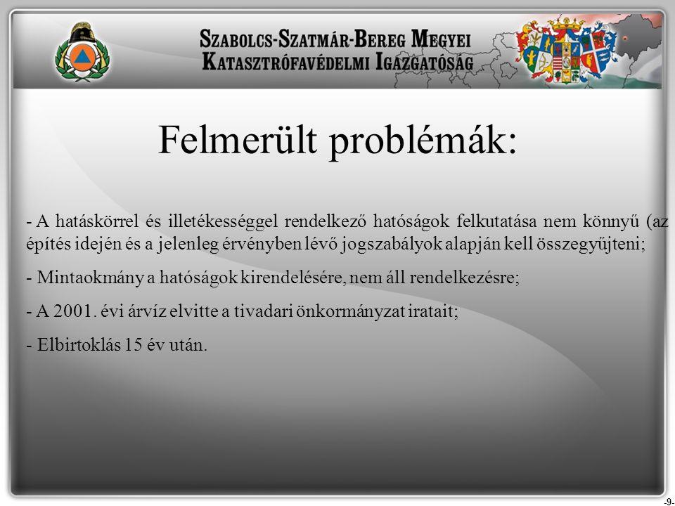 -9- Felmerült problémák: - A hatáskörrel és illetékességgel rendelkező hatóságok felkutatása nem könnyű (az építés idején és a jelenleg érvényben lévő