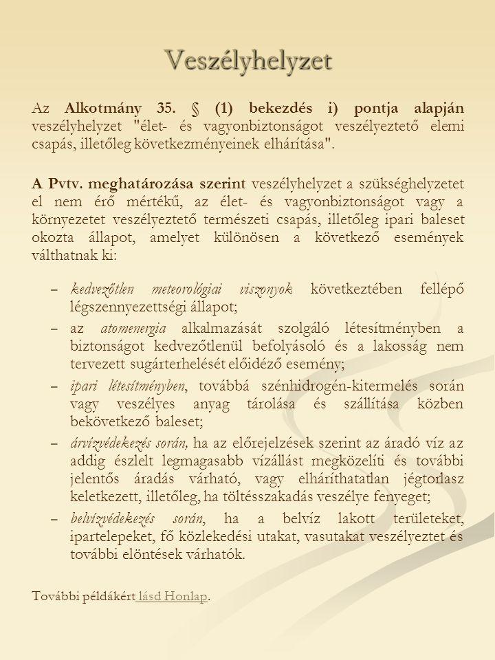 Veszélyhelyzet Az Alkotmány 35.