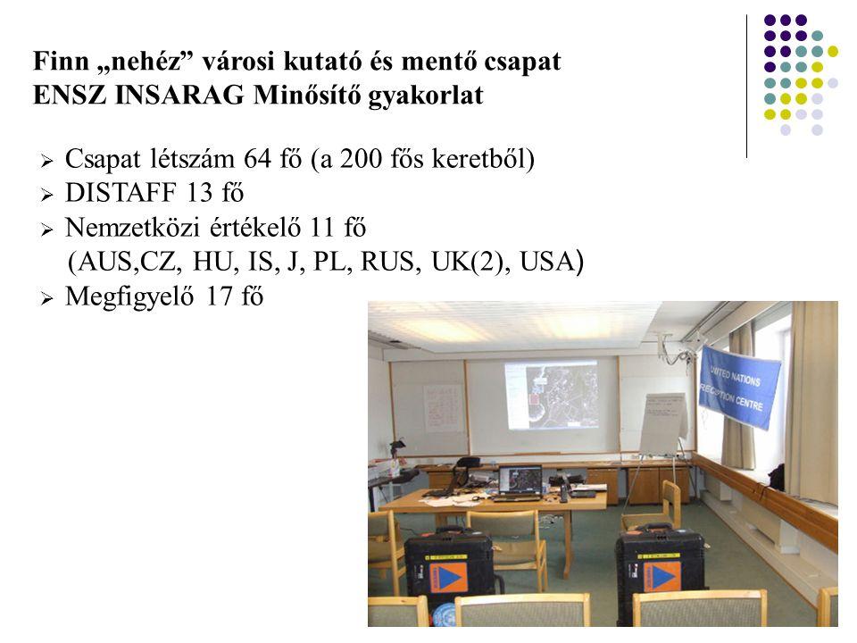 """Finn """"nehéz városi kutató és mentő csapat ENSZ INSARAG Minősítő gyakorlat  Csapat létszám 64 fő (a 200 fős keretből)  DISTAFF 13 fő  Nemzetközi értékelő 11 fő (AUS,CZ, HU, IS, J, PL, RUS, UK(2), USA )  Megfigyelő 17 fő"""
