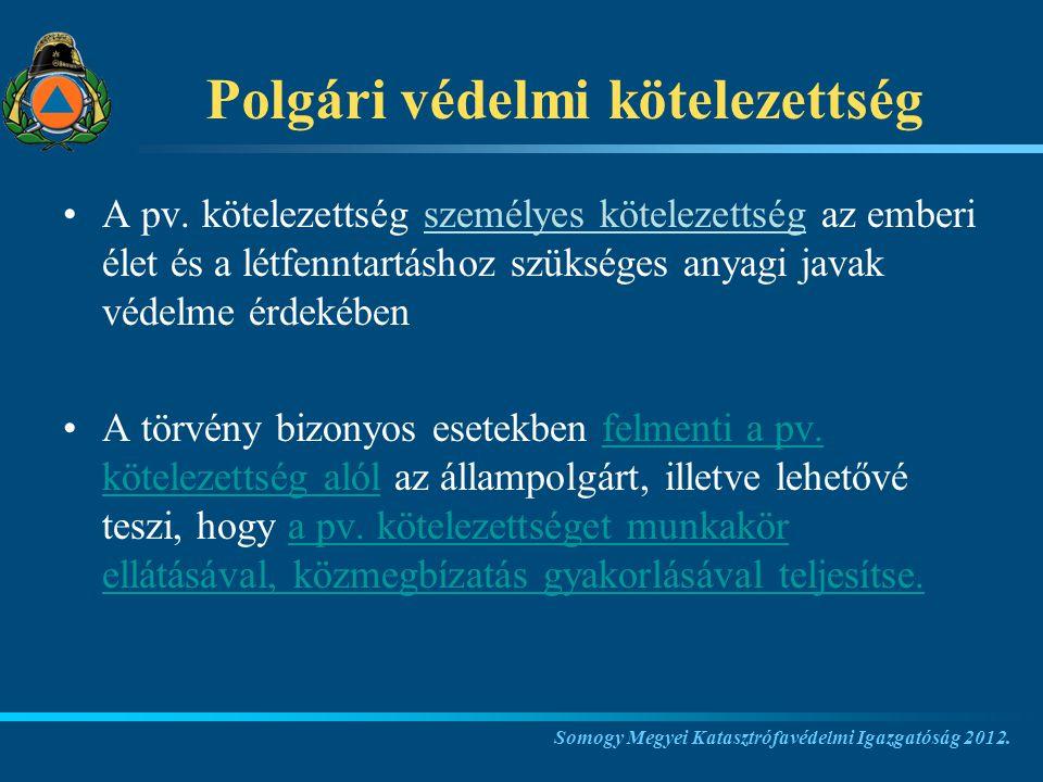 Polgári védelmi kötelezettség A pv.