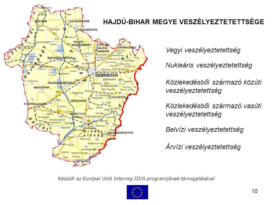 10 Készült az Európai Unió Interreg III/A programjának támogatásával Vegyi veszélyeztetettség Nukleáris veszélyeztetettség HAJDÚ-BIHAR MEGYE VESZÉLYEZTETETTSÉGE Közlekedésből származó közúti veszélyeztetettség Közlekedésből származó vasúti veszélyeztetettség Belvízi veszélyeztetettség Árvízi veszélyeztetettség