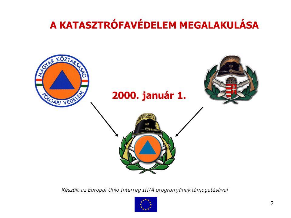 2 Készült az Európai Unió Interreg III/A programjának támogatásával A KATASZTRÓFAVÉDELEM MEGALAKULÁSA 2000. január 1.