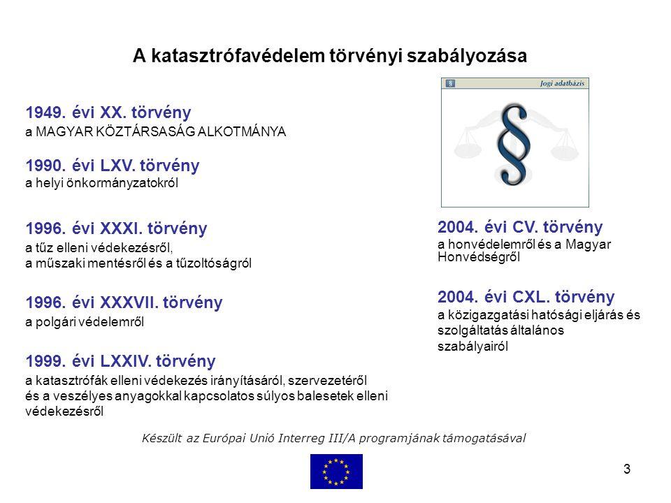 3 Készült az Európai Unió Interreg III/A programjának támogatásával 1999. évi LXXIV. törvény a katasztrófák elleni védekezés irányításáról, szervezeté