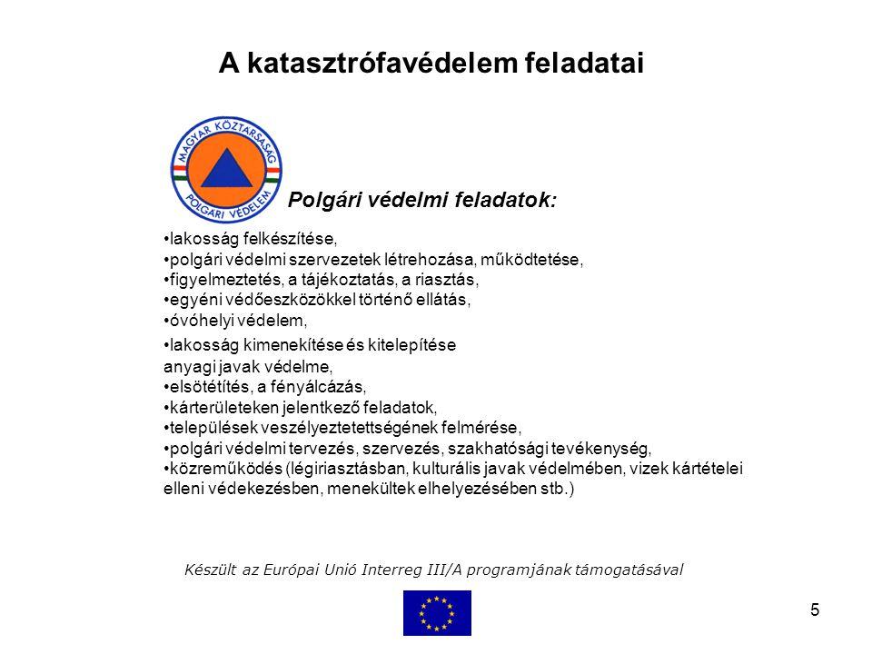 5 Készült az Európai Unió Interreg III/A programjának támogatásával A katasztrófavédelem feladatai Polgári védelmi feladatok: lakosság felkészítése, polgári védelmi szervezetek létrehozása, működtetése, figyelmeztetés, a tájékoztatás, a riasztás, egyéni védőeszközökkel történő ellátás, óvóhelyi védelem, lakosság kimenekítése és kitelepítése létfenntartáshoz szükséges anyagi javak védelme, elsötétítés, a fényálcázás, kárterületeken jelentkező feladatok, települések veszélyeztetettségének felmérése, polgári védelmi tervezés, szervezés, szakhatósági tevékenység, közreműködés (légiriasztásban, kulturális javak védelmében, vizek kártételei elleni védekezésben, menekültek elhelyezésében stb.)