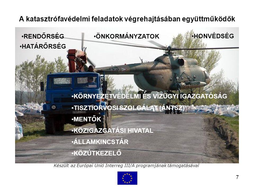 7 Készült az Európai Unió Interreg III/A programjának támogatásával A katasztrófavédelmi feladatok végrehajtásában együttműködők KÖRNYEZETVÉDELMI ÉS VÍZÜGYI IGAZGATÓSÁG TISZTIORVOSI SZOLGÁLAT (ÁNTSZ) MENTŐK KÖZIGAZGATÁSI HIVATAL ÁLLAMKINCSTÁR KÖZÚTKEZELŐ RENDŐRSÉG HATÁRŐRSÉG HONVÉDSÉG ÖNKORMÁNYZATOK