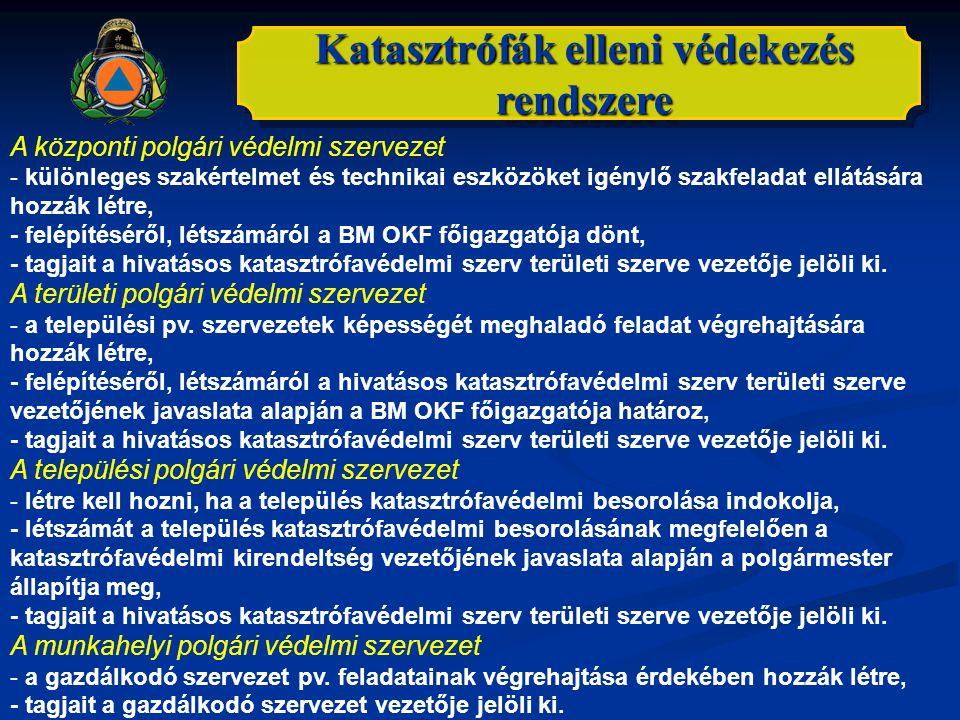Katasztrófák elleni védekezés rendszere A központi polgári védelmi szervezet - különleges szakértelmet és technikai eszközöket igénylő szakfeladat ell