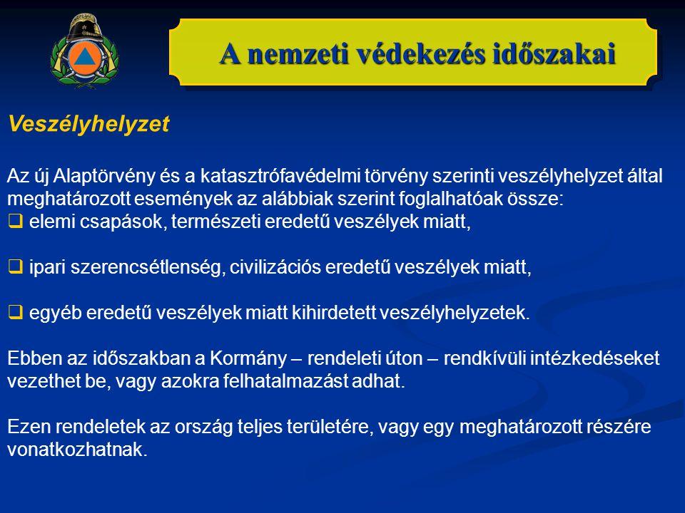 A nemzeti védekezés időszakai Veszélyhelyzet Az új Alaptörvény és a katasztrófavédelmi törvény szerinti veszélyhelyzet által meghatározott események a