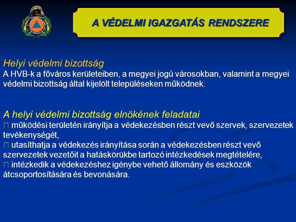 A VÉDELMI IGAZGATÁS RENDSZERE Helyi védelmi bizottság A HVB-k a főváros kerületeiben, a megyei jogú városokban, valamint a megyei védelmi bizottság ál