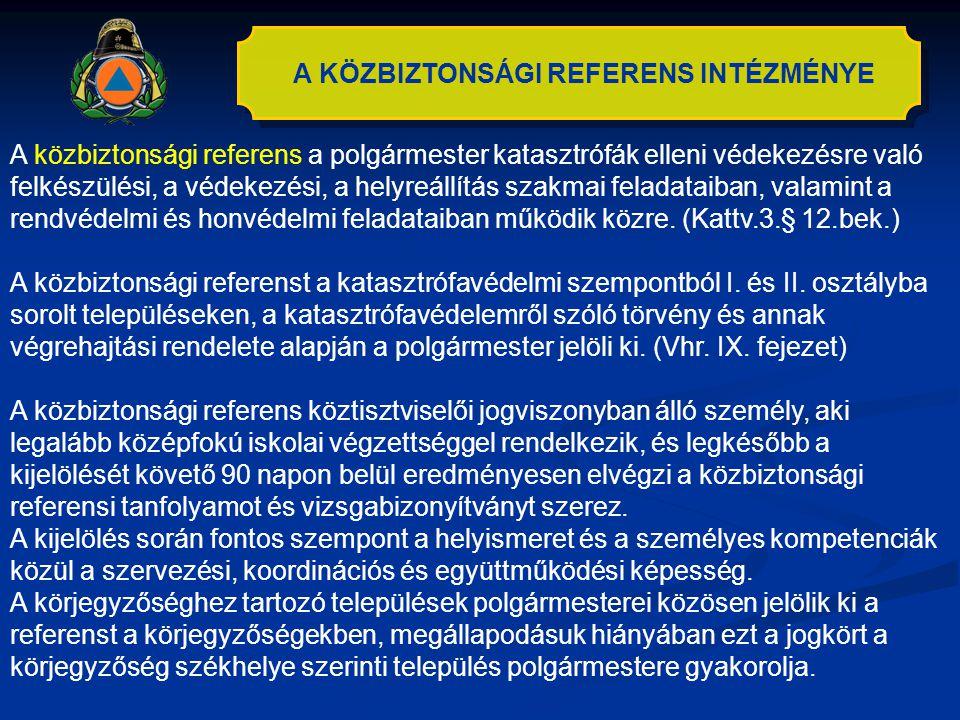 A KÖZBIZTONSÁGI REFERENS INTÉZMÉNYE A közbiztonsági referens a polgármester katasztrófák elleni védekezésre való felkészülési, a védekezési, a helyreá
