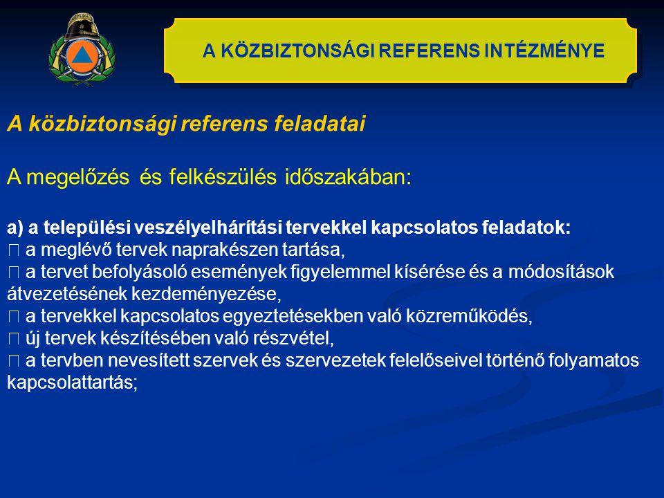 A KÖZBIZTONSÁGI REFERENS INTÉZMÉNYE A közbiztonsági referens feladatai A megelőzés és felkészülés időszakában: a) a települési veszélyelhárítási terve