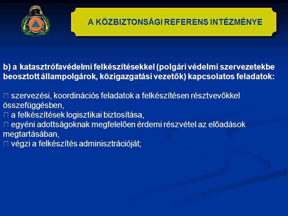 A KÖZBIZTONSÁGI REFERENS INTÉZMÉNYE b) a katasztrófavédelmi felkészítésekkel (polgári védelmi szervezetekbe beosztott állampolgárok, közigazgatási vez