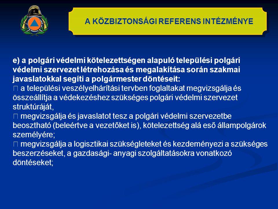 A KÖZBIZTONSÁGI REFERENS INTÉZMÉNYE e) a polgári védelmi kötelezettségen alapuló települési polgári védelmi szervezet létrehozása és megalakítása sorá