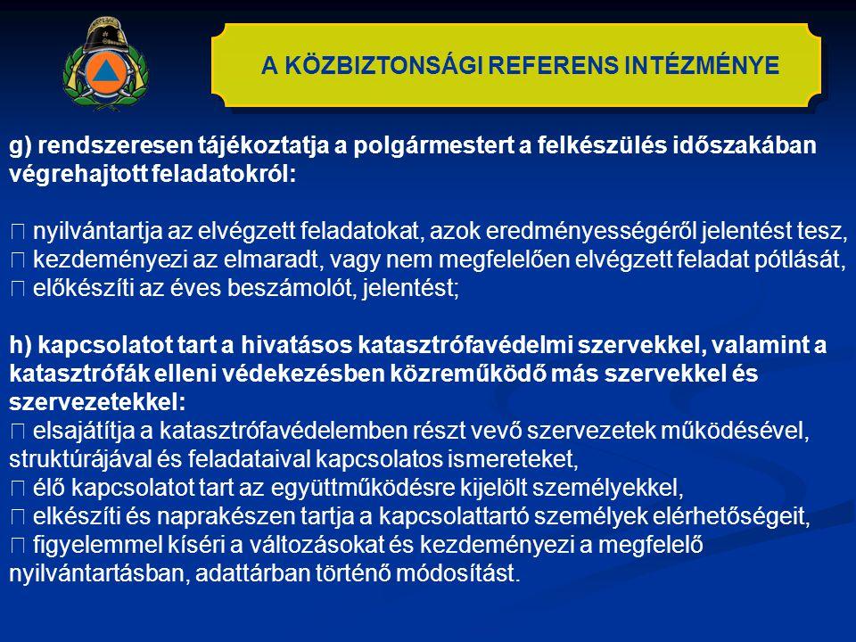 A KÖZBIZTONSÁGI REFERENS INTÉZMÉNYE g) rendszeresen tájékoztatja a polgármestert a felkészülés időszakában végrehajtott feladatokról:  nyilvántartja