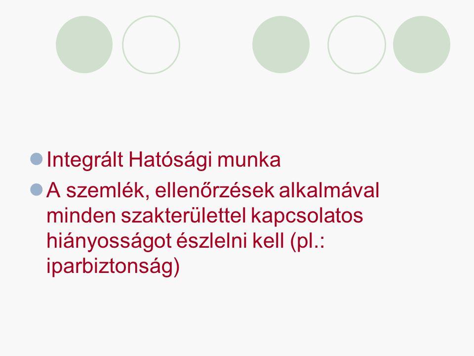 Integrált Hatósági munka A szemlék, ellenőrzések alkalmával minden szakterülettel kapcsolatos hiányosságot észlelni kell (pl.: iparbiztonság)