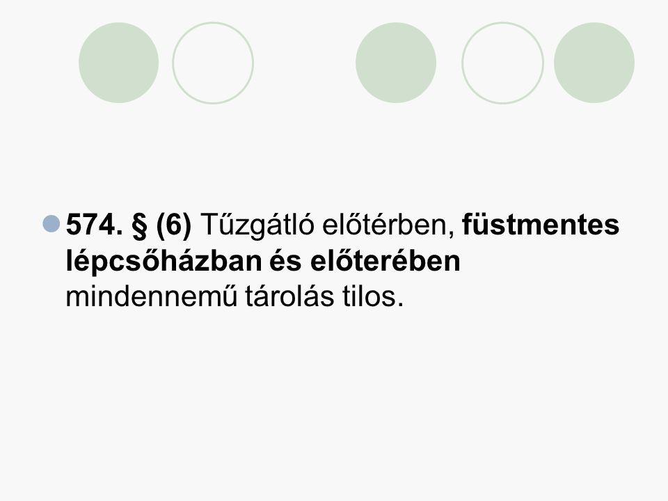 574. § (6) Tűzgátló előtérben, füstmentes lépcsőházban és előterében mindennemű tárolás tilos.