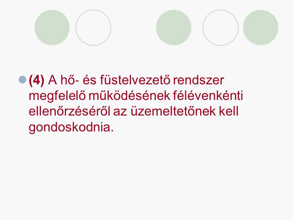 (4) A hő ‐ és füstelvezető rendszer megfelelő működésének félévenkénti ellenőrzéséről az üzemeltetőnek kell gondoskodnia.