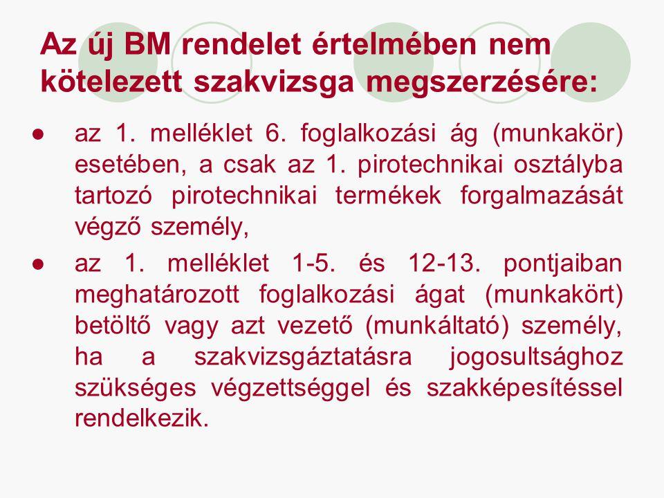Az új BM rendelet értelmében nem kötelezett szakvizsga megszerzésére: ●az 1. melléklet 6. foglalkozási ág (munkakör) esetében, a csak az 1. pirotechni