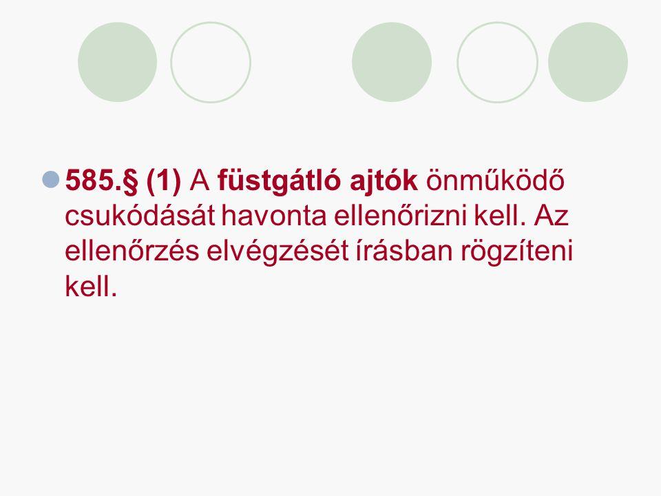 585.§ (1) A füstgátló ajtók önműködő csukódását havonta ellenőrizni kell. Az ellenőrzés elvégzését írásban rögzíteni kell.