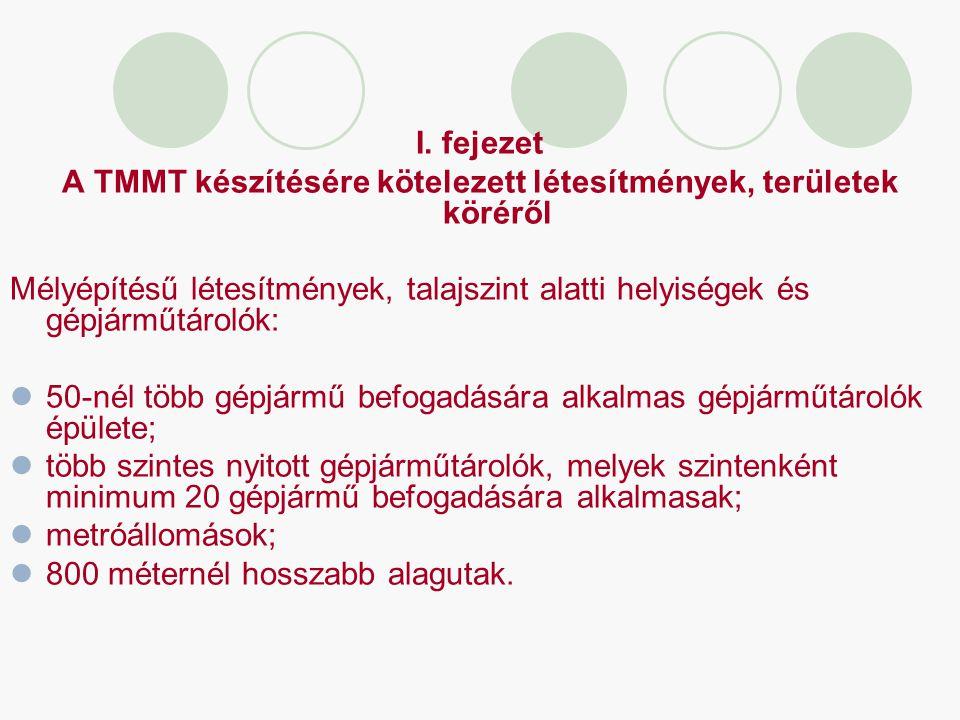 I. fejezet A TMMT készítésére kötelezett létesítmények, területek köréről Mélyépítésű létesítmények, talajszint alatti helyiségek és gépjárműtárolók: