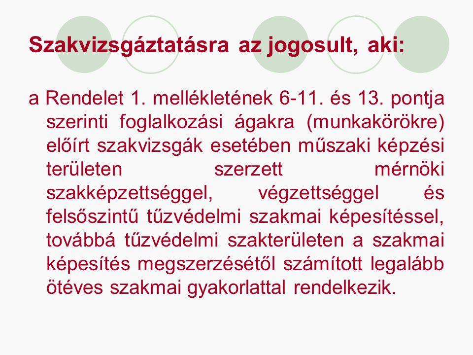 Szakvizsgáztatásra az jogosult, aki: a Rendelet 1. mellékletének 6-11. és 13. pontja szerinti foglalkozási ágakra (munkakörökre) előírt szakvizsgák es