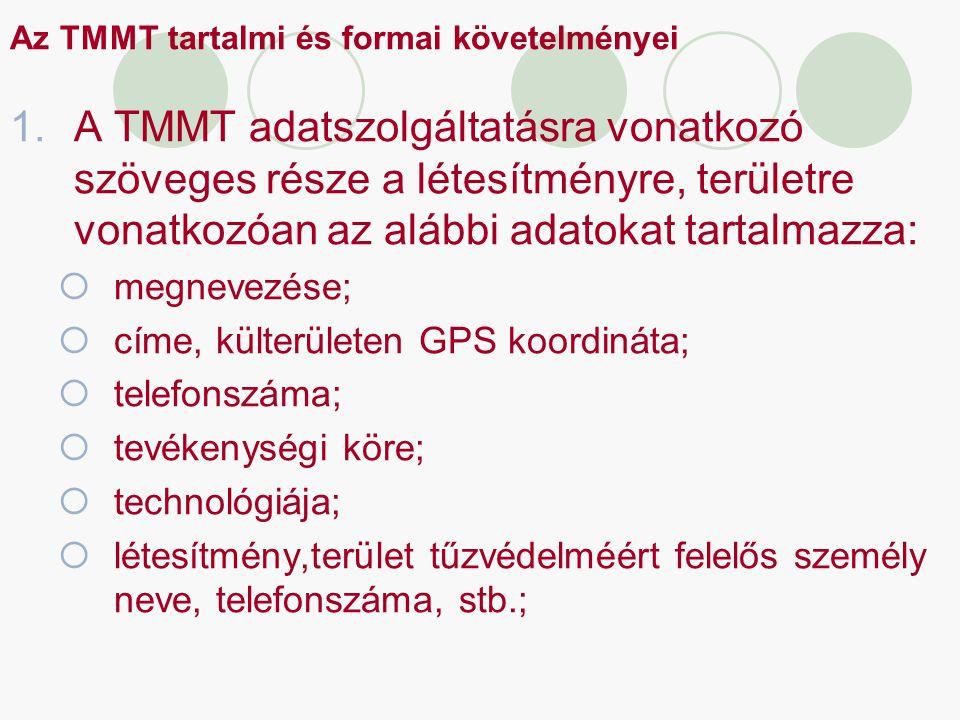 Az TMMT tartalmi és formai követelményei 1.A TMMT adatszolgáltatásra vonatkozó szöveges része a létesítményre, területre vonatkozóan az alábbi adatoka