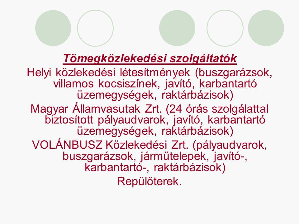 Tömegközlekedési szolgáltatók Helyi közlekedési létesítmények (buszgarázsok, villamos kocsiszínek, javító, karbantartó üzemegységek, raktárbázisok) Ma
