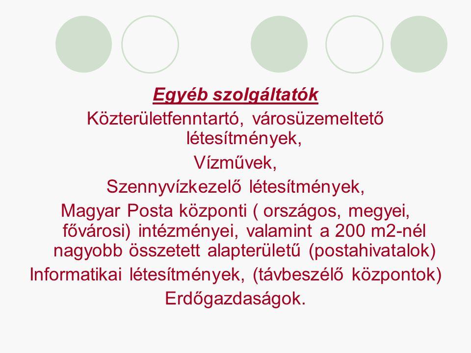 Egyéb szolgáltatók Közterületfenntartó, városüzemeltető létesítmények, Vízművek, Szennyvízkezelő létesítmények, Magyar Posta központi ( országos, megy