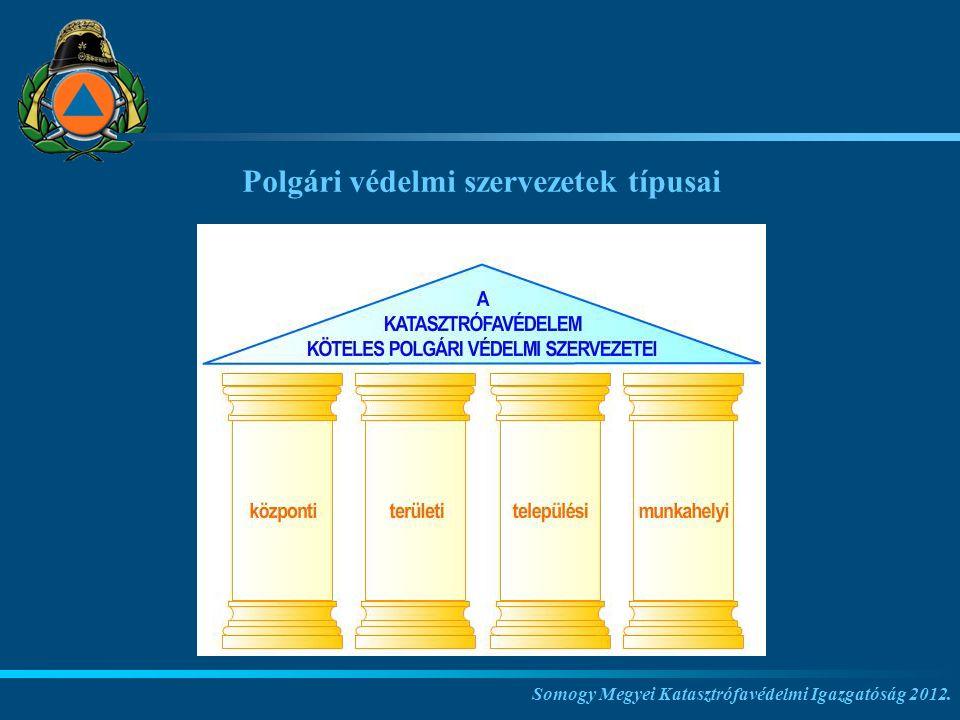 Somogy Megyei Katasztrófavédelmi Igazgatóság 2012. Polgári védelmi szervezetek típusai