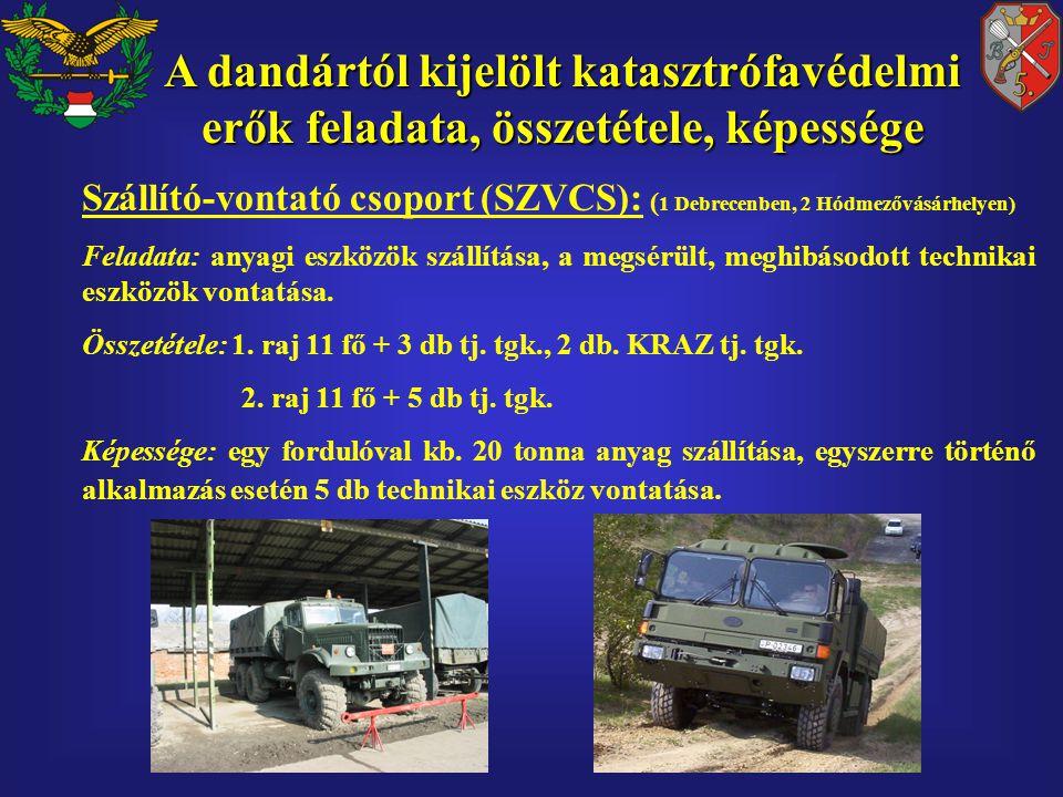 Szállító-vontató csoport (SZVCS): ( 1 Debrecenben, 2 Hódmezővásárhelyen) Feladata: anyagi eszközök szállítása, a megsérült, meghibásodott technikai eszközök vontatása.