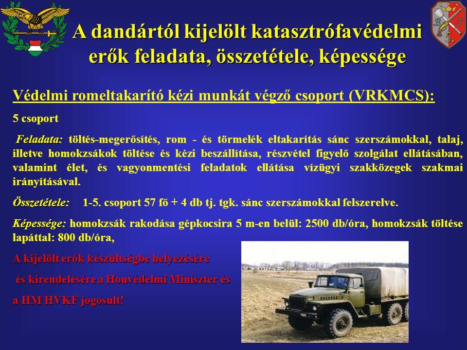 Védelmi romeltakarító kézi munkát végző csoport (VRKMCS): 5 csoport Feladata Feladata: töltés-megerősítés, rom - és törmelék eltakarítás sánc szerszámokkal, talaj, illetve homokzsákok töltése és kézi beszállítása, részvétel figyelő szolgálat ellátásában, valamint élet, és vagyonmentési feladatok ellátása vízügyi szakközegek szakmai irányításával.