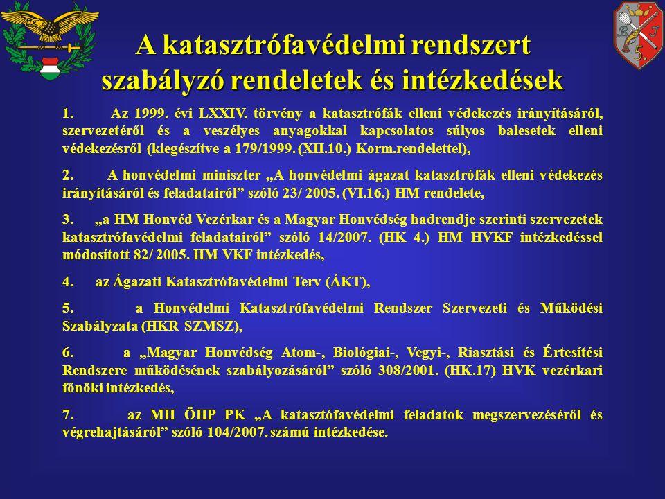 A katasztrófavédelmi rendszert szabályzó rendeletek és intézkedések 1.