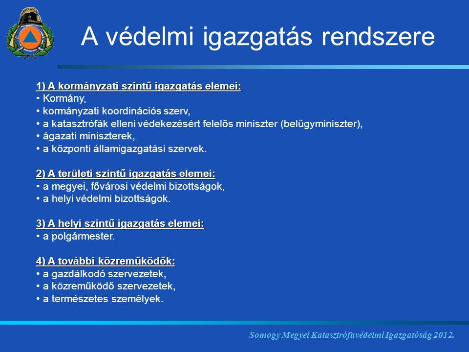 1) A kormányzati szintű igazgatás elemei: Kormány, kormányzati koordinációs szerv, a katasztrófák elleni védekezésért felelős miniszter (belügyminiszt