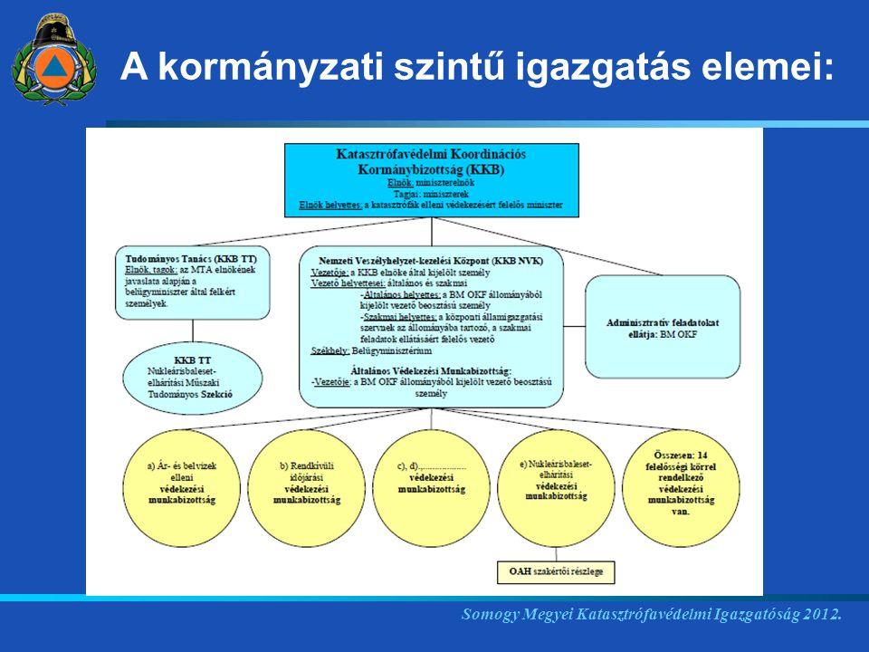 Somogy Megyei Katasztrófavédelmi Igazgatóság 2012. A kormányzati szintű igazgatás elemei: