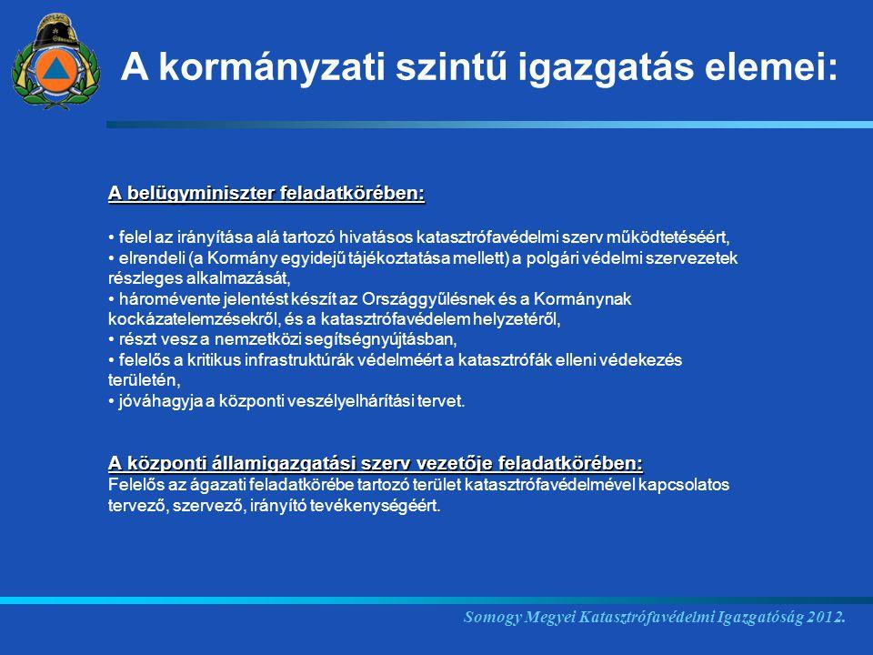 Somogy Megyei Katasztrófavédelmi Igazgatóság 2012. A belügyminiszter feladatkörében: felel az irányítása alá tartozó hivatásos katasztrófavédelmi szer