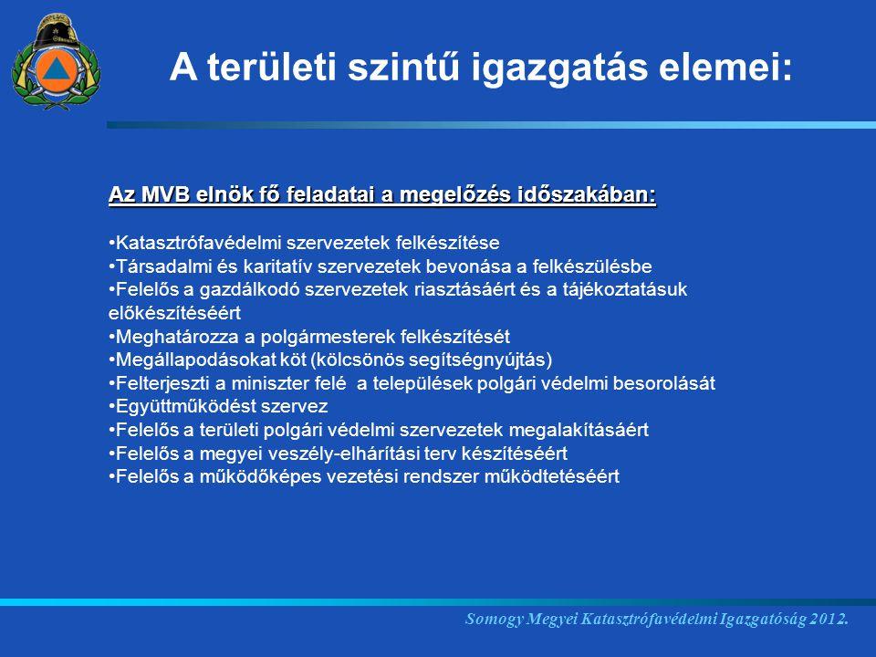 Somogy Megyei Katasztrófavédelmi Igazgatóság 2012. Az MVB elnök fő feladatai a megelőzés időszakában: Katasztrófavédelmi szervezetek felkészítése Társ