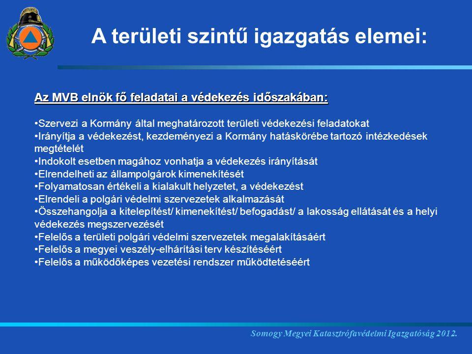 Somogy Megyei Katasztrófavédelmi Igazgatóság 2012. Az MVB elnök fő feladatai a védekezés időszakában: Szervezi a Kormány által meghatározott területi