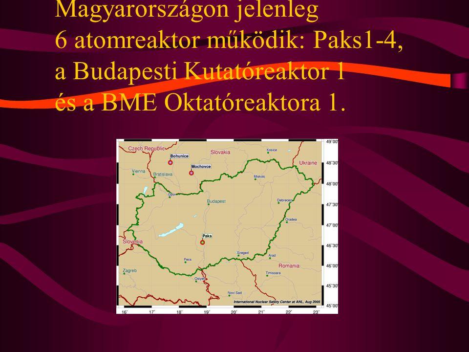 Magyarországon jelenleg 6 atomreaktor működik: Paks1-4, a Budapesti Kutatóreaktor 1 és a BME Oktatóreaktora 1.