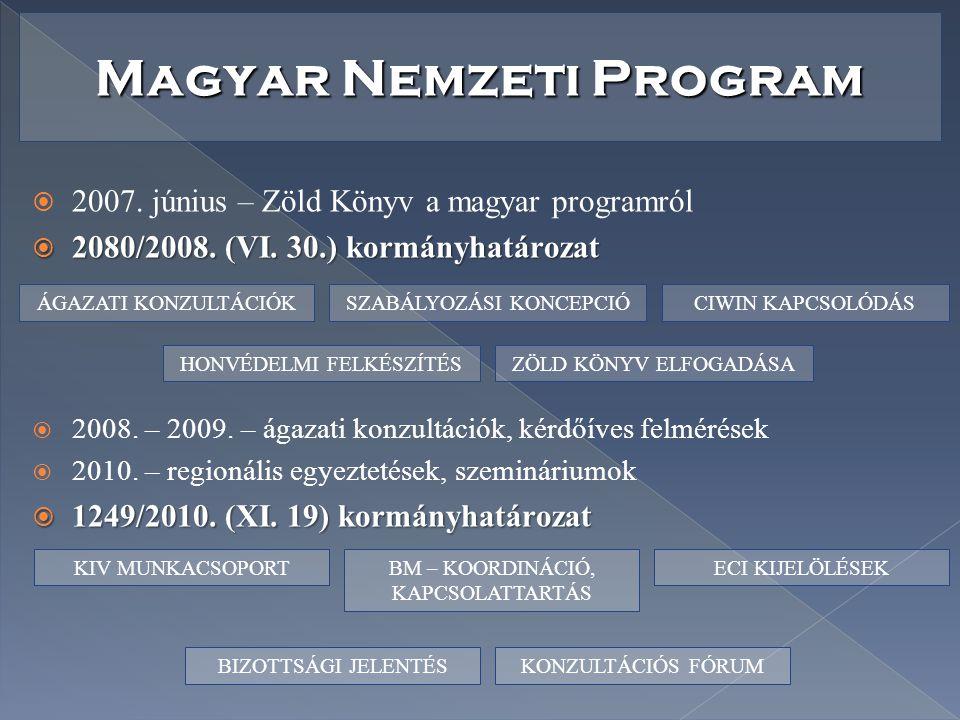 Magyar Nemzeti Program  2007. június – Zöld Könyv a magyar programról  2080/2008. (VI. 30.) kormányhatározat  2008. – 2009. – ágazati konzultációk,