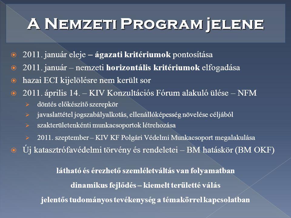 A Nemzeti Program j elene  2011. január eleje – ágazati kritériumok pontosítása  2011. január – nemzeti horizontális kritériumok elfogadása  hazai