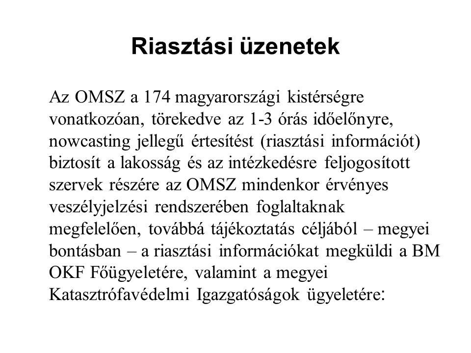 Riasztási üzenetek Az OMSZ a 174 magyarországi kistérségre vonatkozóan, törekedve az 1-3 órás időelőnyre, nowcasting jellegű értesítést (riasztási információt) biztosít a lakosság és az intézkedésre feljogosított szervek részére az OMSZ mindenkor érvényes veszélyjelzési rendszerében foglaltaknak megfelelően, továbbá tájékoztatás céljából – megyei bontásban – a riasztási információkat megküldi a BM OKF Főügyeletére, valamint a megyei Katasztrófavédelmi Igazgatóságok ügyeletére :